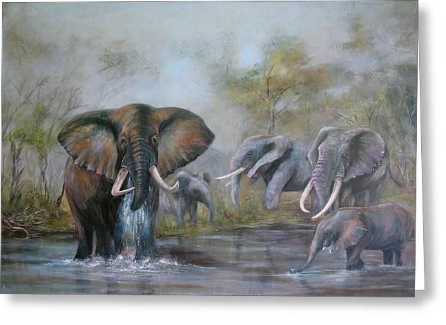 Zimbabwe Paintings Greeting Cards - At the Waterhole Greeting Card by Rita Palm