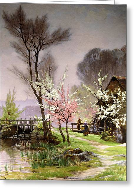 Spring Scenes Greeting Cards - At the Watermill   Spring Greeting Card by Henri Saintain