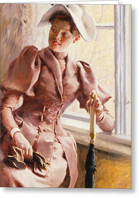 At The Window Greeting Card by Paul Fischer