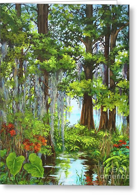 Acadian Greeting Cards - Atchafalaya Swamp Greeting Card by Dianne Parks