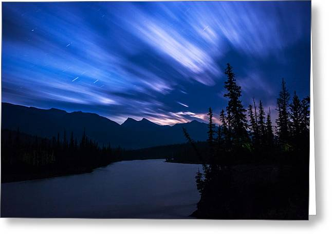 Jasper Greeting Cards - Athabasca River Moonrise Long Exposure Greeting Card by Cale Best
