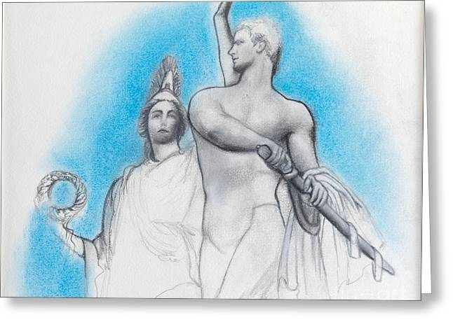 Greek Sculpture Drawings Greeting Cards - Athena counseling Diomedes Greeting Card by Gabriela Junosova