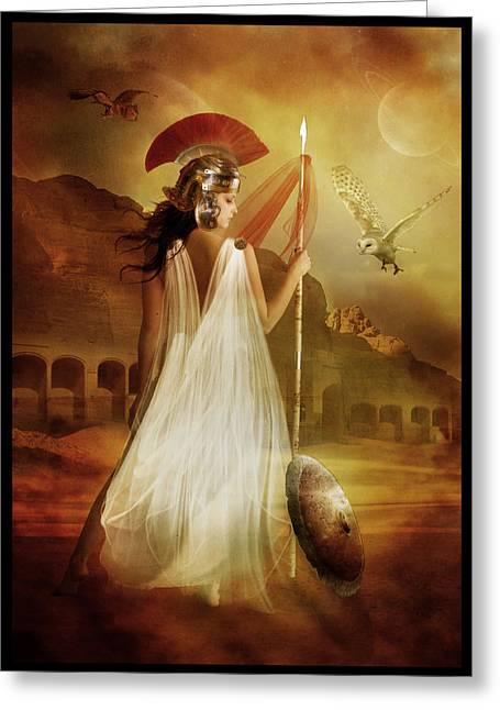 Goddess Greeting Cards - Athena Greeting Card by Karen K