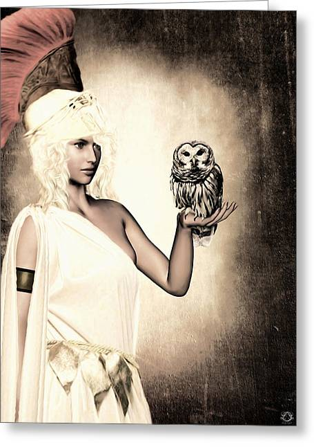 Owlets Greeting Cards - Athena Greeting Card by Lourry Legarde