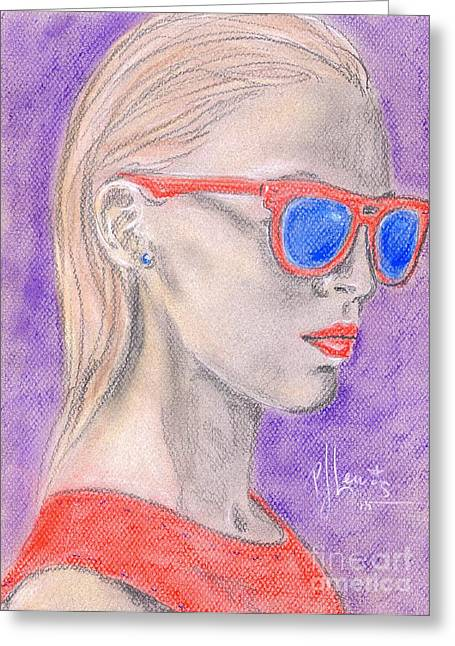 Red Dress Drawings Greeting Cards - Athena Greeting Card by P J Lewis