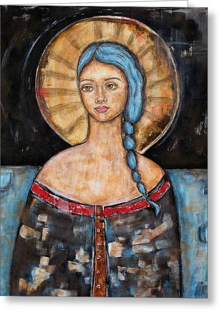 Devotional Art Paintings Greeting Cards - Athena Greeting Card by Rain Ririn