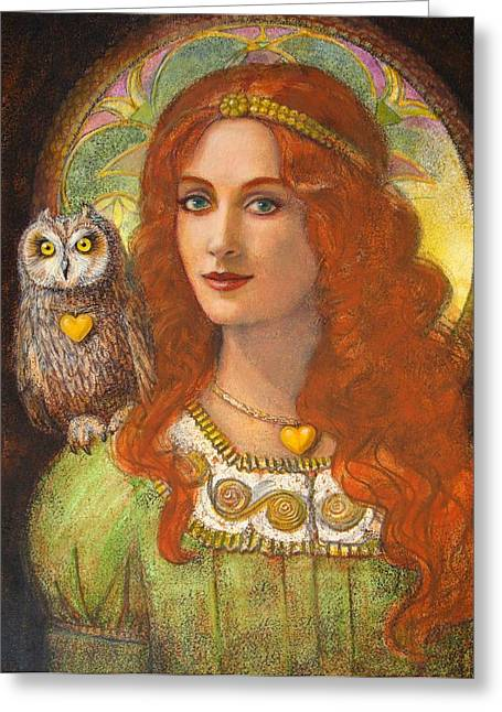 Athena Greeting Cards - Athena s Owl- Wise Ones Greeting Card by Sue Halstenberg