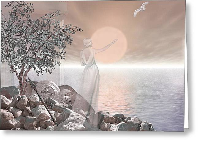 Fine Art Digital Art Greeting Cards - Athena Greeting Card by Torie Tiffany