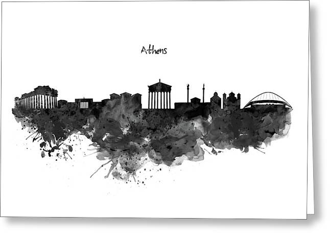 Athens Black And White Skyline Greeting Card by Marian Voicu