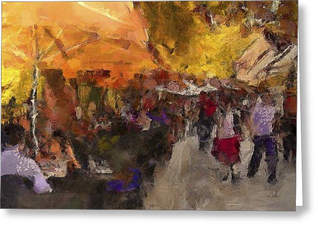Table Wine Greeting Cards - Athens Cafe Greeting Card by Yazz