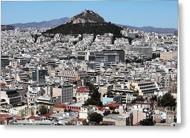 Recently Sold -  - Greek School Of Art Greeting Cards - Athens City View Greeting Card by John Rizzuto