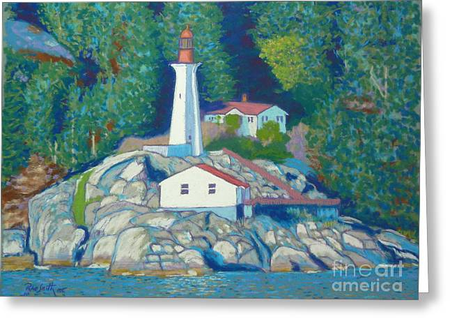 Vancouver Pastels Greeting Cards - Atkinson Point Lighthouse Greeting Card by Rae  Smith  PSC