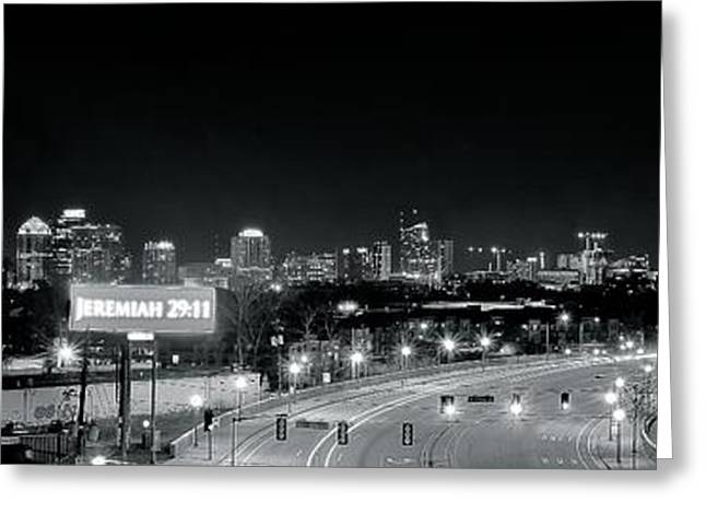 Basketballs Greeting Cards - Atlanta Black and White Panorama Greeting Card by Frozen in Time Fine Art Photography