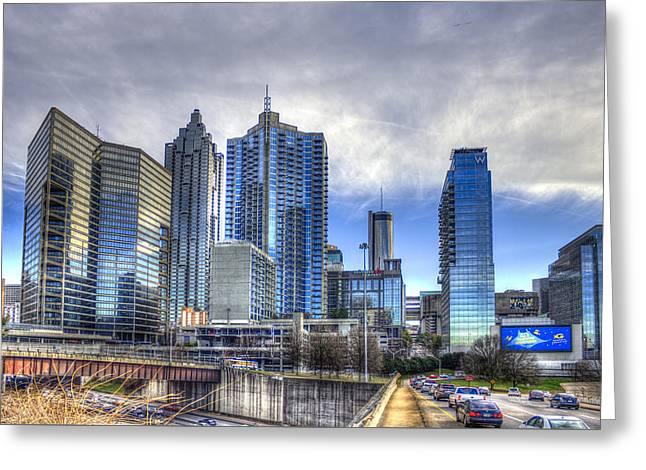 Grady Greeting Cards - Atlanta Blue Glass Reflections Greeting Card by Reid Callaway