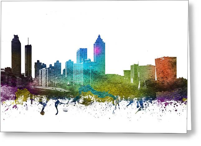 Rainbows Drawings Greeting Cards - Atlanta Cityscape 01 Greeting Card by Aged Pixel
