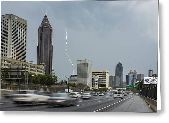 Grady Greeting Cards - Atlanta Daytime Lightning Greeting Card by Reid Callaway