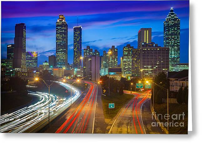 Atlanta Downtown By Night Greeting Card by Inge Johnsson