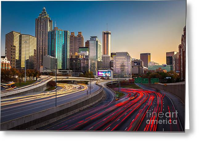 Highway Greeting Cards - Atlanta Downtown Lights Greeting Card by Inge Johnsson