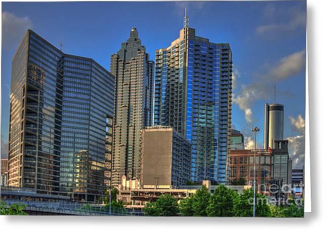 Grady Greeting Cards - Atlanta Downtown Skyline Reflections Greeting Card by Reid Callaway