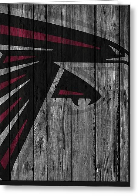Atlanta Falcons Wood Fence Greeting Card by Joe Hamilton