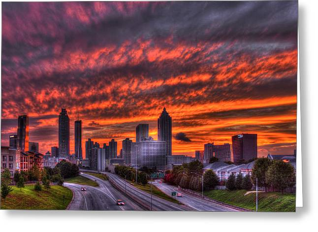 Grady Greeting Cards - Atlanta Flaming Sunset Greeting Card by Reid Callaway