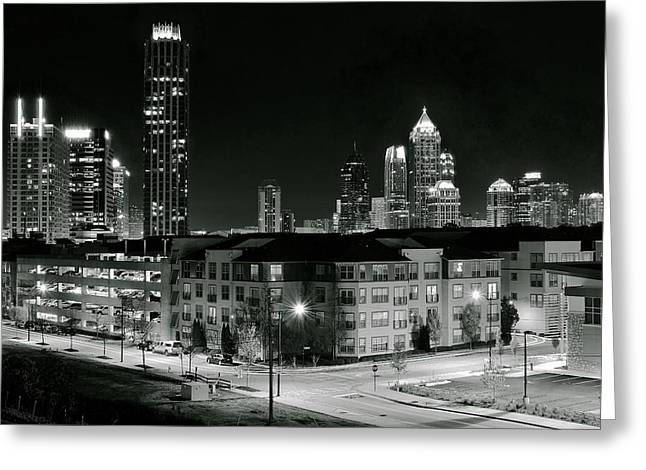 Hank Aaron Greeting Cards - Atlanta from Above in Black and White Greeting Card by Frozen in Time Fine Art Photography