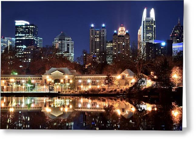 Night Hawk Greeting Cards - Atlanta from Piedmont Park 2 Greeting Card by Frozen in Time Fine Art Photography