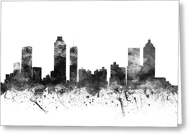 High Rise Greeting Cards - Atlanta Georgia Cityscape 02BW Greeting Card by Aged Pixel