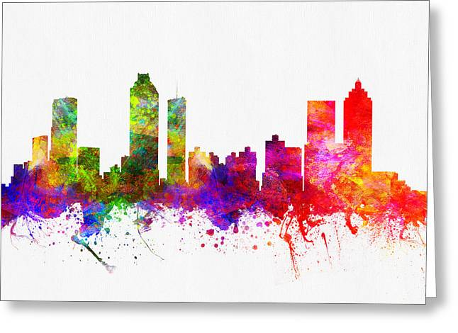 Down Town Greeting Cards - Atlanta Georgia skyline Greeting Card by Aged Pixel