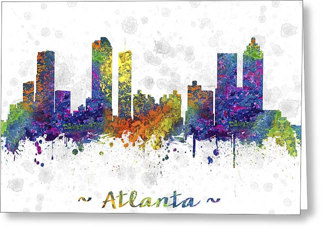 High Rise Greeting Cards - Atlanta Georgia Skyline Color 03SQ Greeting Card by Aged Pixel