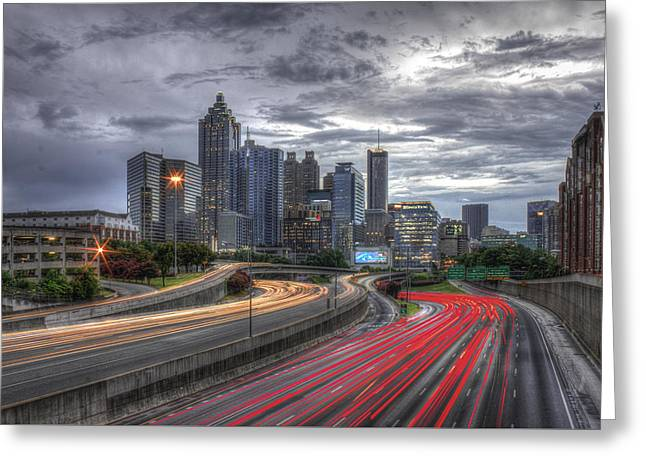 Grady Greeting Cards - Atlanta Lights Up Downtown I-75 I-85 Greeting Card by Reid Callaway