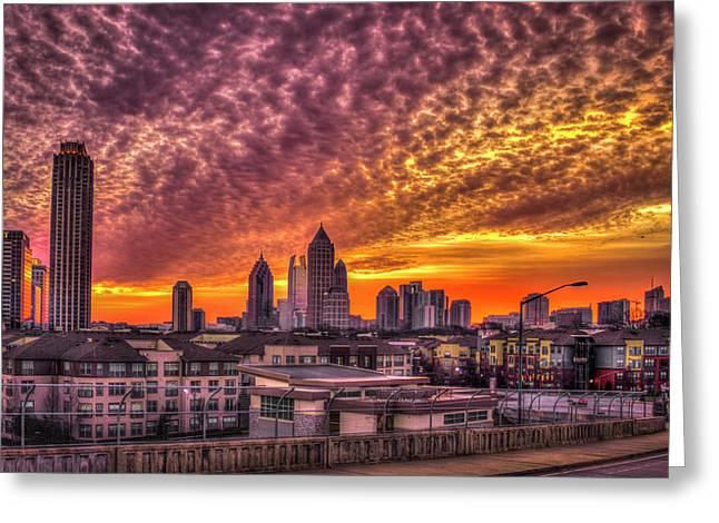 Atlanta University Greeting Cards - Atlanta Midtown Atlantic Station Sunrise Greeting Card by Reid Callaway