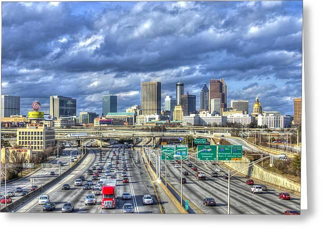 Grady Greeting Cards - Atlanta Red Truck Express Greeting Card by Reid Callaway