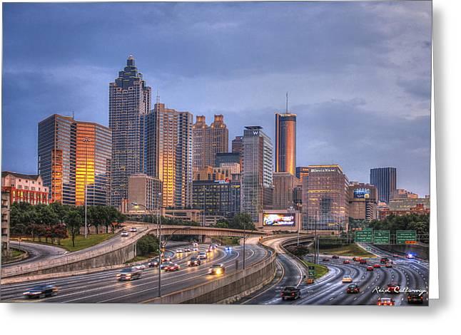 Grady Greeting Cards - Atlanta Reflections Greeting Card by Reid Callaway