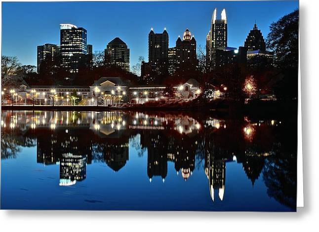 Night Hawk Greeting Cards - Atlanta Reflects Greeting Card by Frozen in Time Fine Art Photography