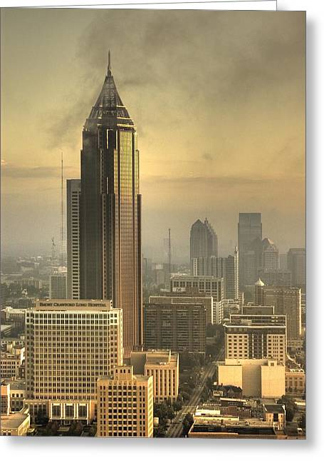 City Buildings Digital Greeting Cards - Atlanta Skyline at dusk Greeting Card by Robert Ponzoni
