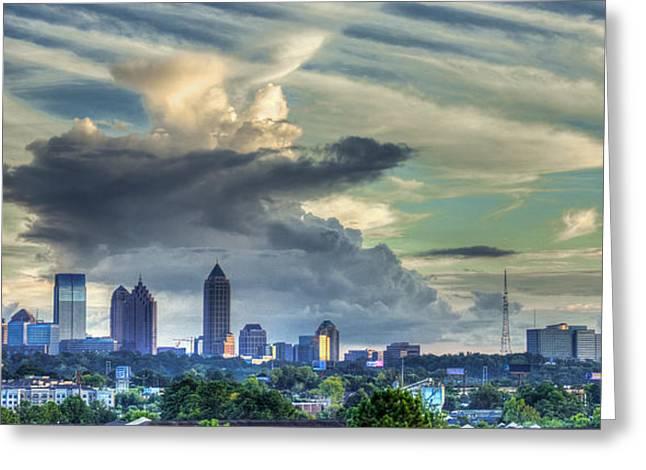 Grady Greeting Cards - Atlanta Skyline Cloud Panorama Greeting Card by Reid Callaway