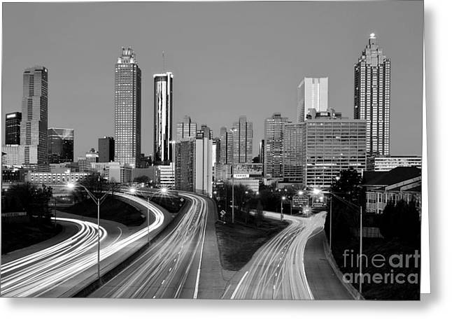City Buildings Greeting Cards - Atlanta Skyline in Morning Downtown Light trails BW Black and white Greeting Card by Jon Holiday
