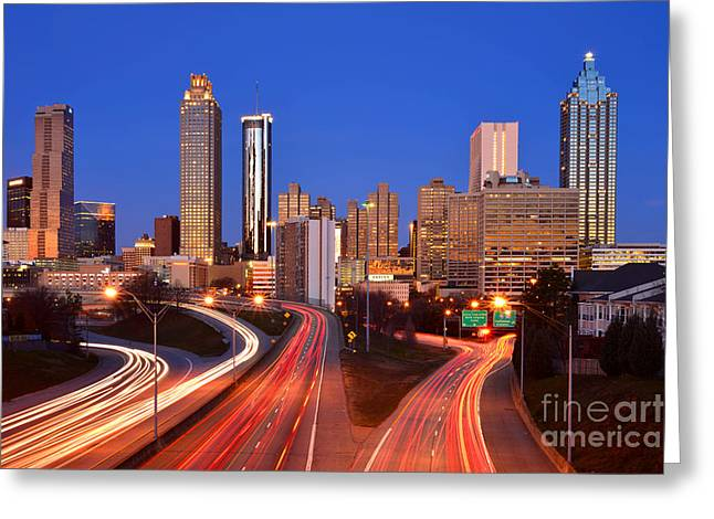 Panoramic Ocean Greeting Cards - Atlanta Skyline in Morning Downtown Light trails Color Greeting Card by Jon Holiday