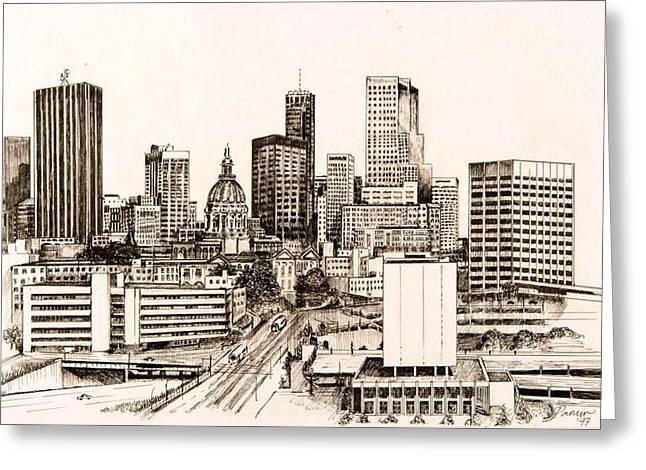 Atlanta Skyline Greeting Card by Pamir Thompson