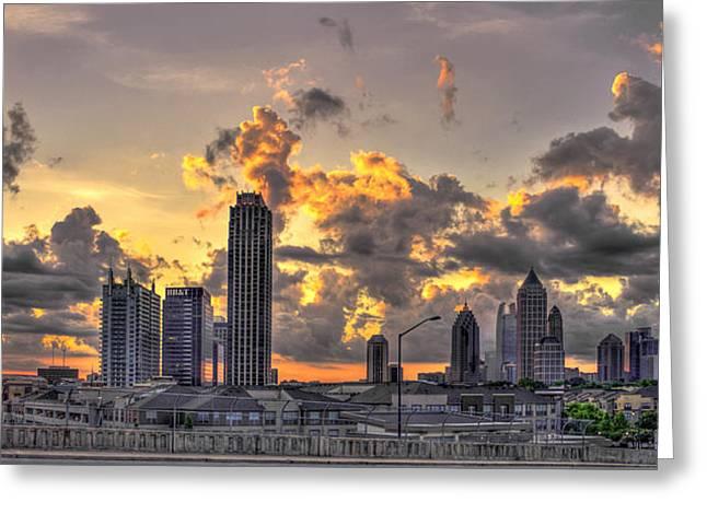 Atlanta Sunrise On Atlantic Station Commons And Midtown Atlanta Greeting Card by Reid Callaway