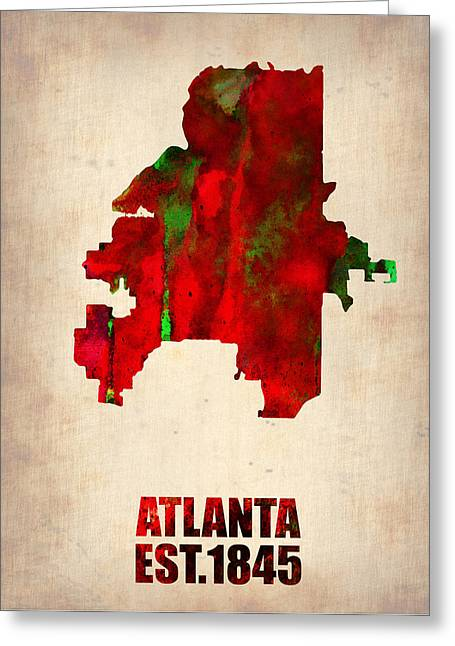 Global Cities Greeting Cards - Atlanta Watercolor Map Greeting Card by Naxart Studio