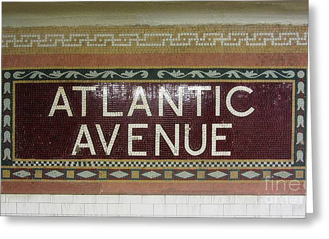 Atlantic Avenue Subway Sign Greeting Card by Nishanth Gopinathan
