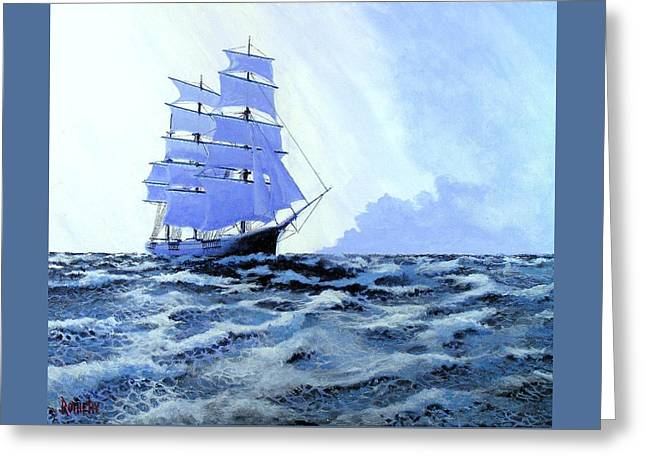 Sailing Ship Greeting Cards - Atlantic Blue Greeting Card by George Rothery