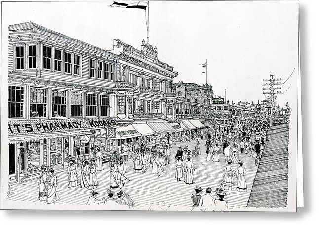 Pen And Ink Drawing Greeting Cards - Atlantic City Boardwalk 1900 Greeting Card by Ira Shander