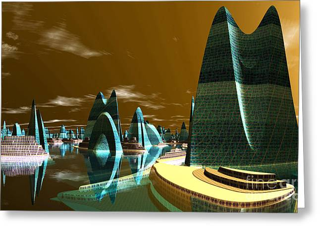 Cities Of The Future In The Year 2498 Greeting Cards - Atlantic City Greeting Card by Heinz G Mielke