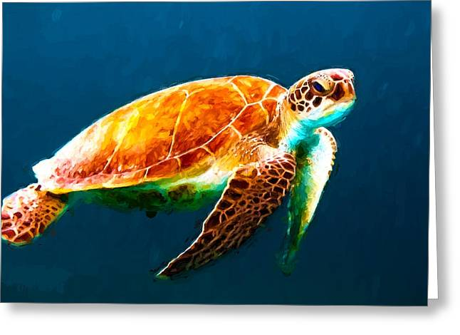 Atlantic Green Sea Turtle Greeting Card by Theo Westlake