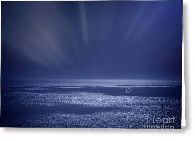 Atlantic Night Greeting Card by Edmund Nagele