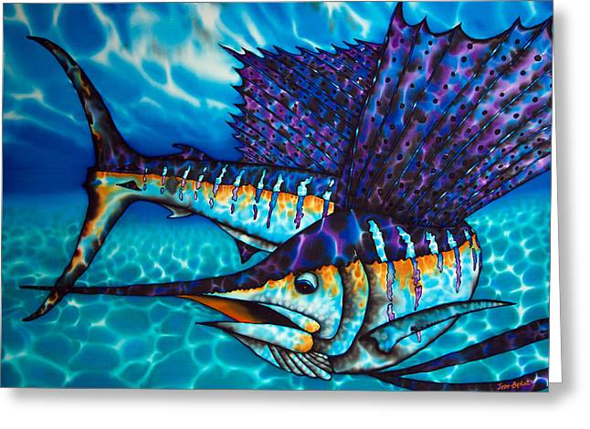 Abstract Seascape Tapestries - Textiles Greeting Cards - Atlantic Sailfish Greeting Card by Daniel Jean-Baptiste