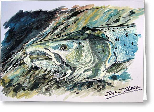 Salmon Paintings Greeting Cards - Atlantic Salmon 3 Greeting Card by Juan Jose Serra